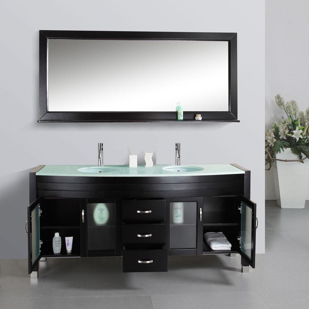 "71"" Ava Double Sink Vanity - Glass Top - Bathgems.com"