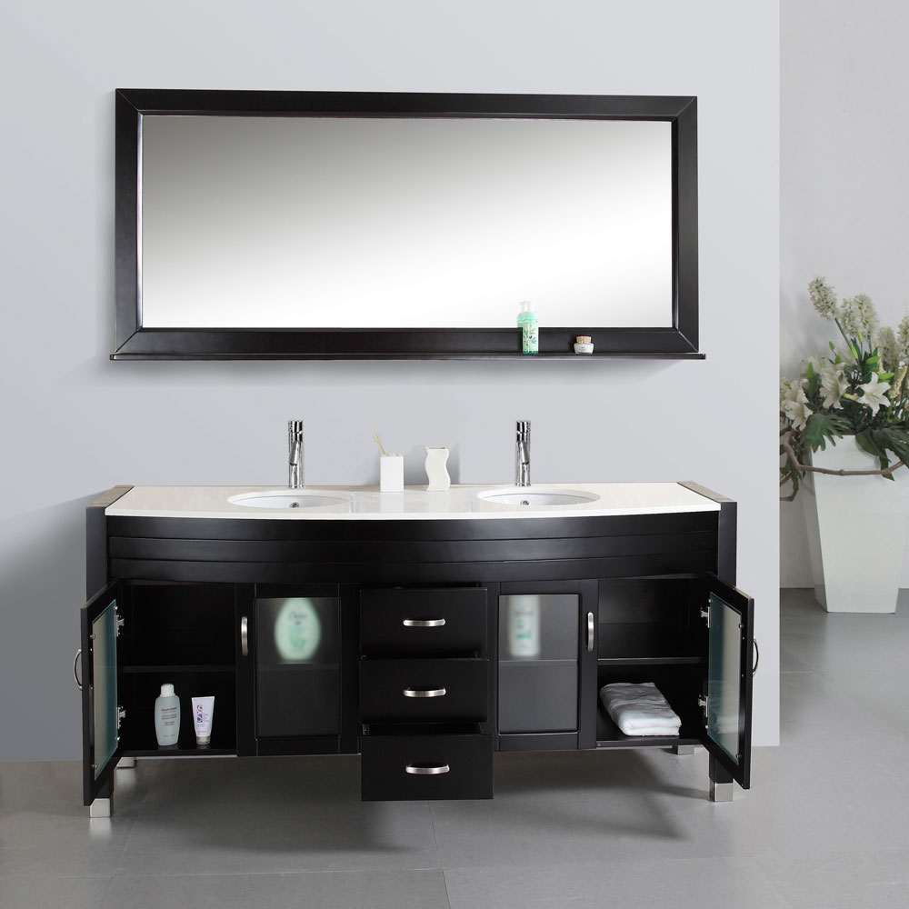 "71"" Ava Double Sink Vanity - Ivory Top - Bathgems.com"