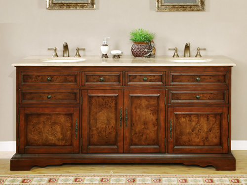 "72"" Nicosia Double Bath Vanity - with Travertine Top"