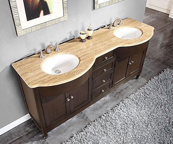 "72"" Antillo Double Sink Vanity - with Travertine Top"