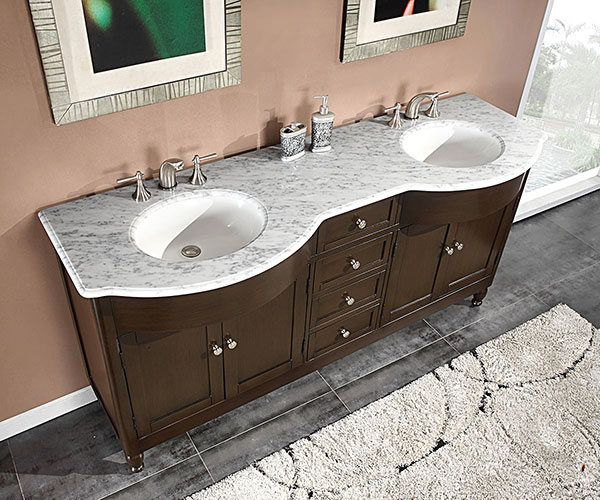 "72"" Antillo Double Sink Vanity - with White Marble Top"