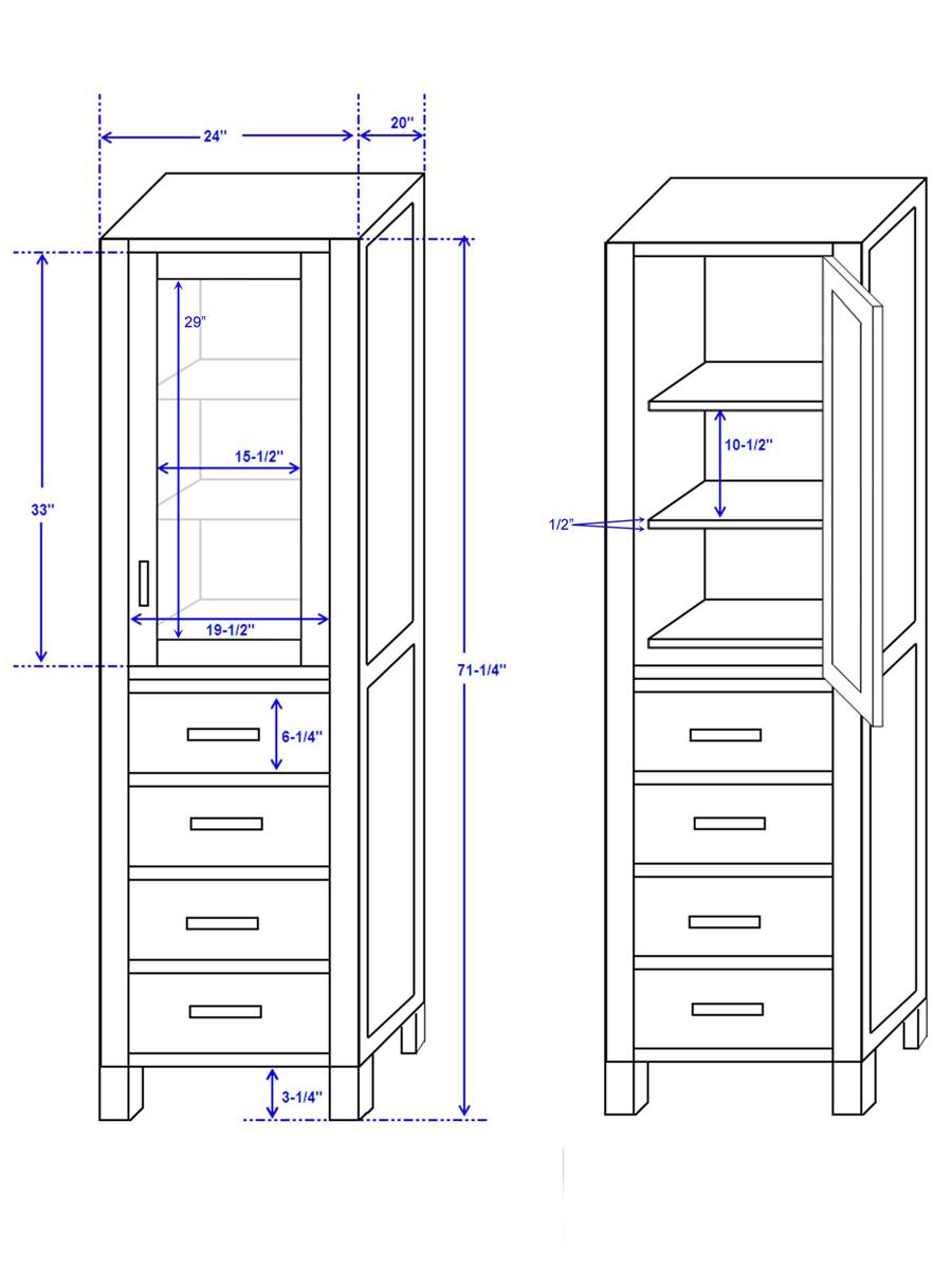 Linen Cabinet - Dimensions