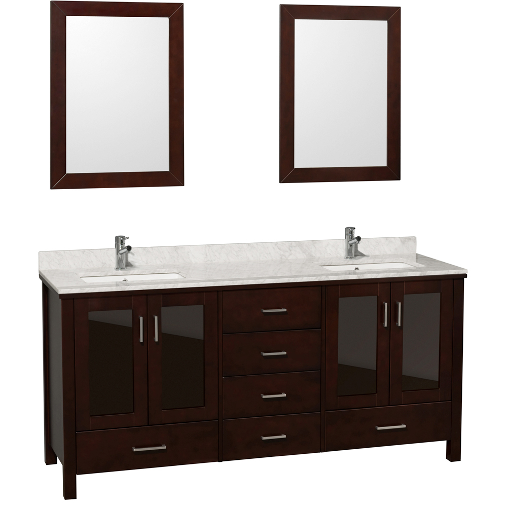 Shown with Two Small Mirrors and Carrera White Marble Top