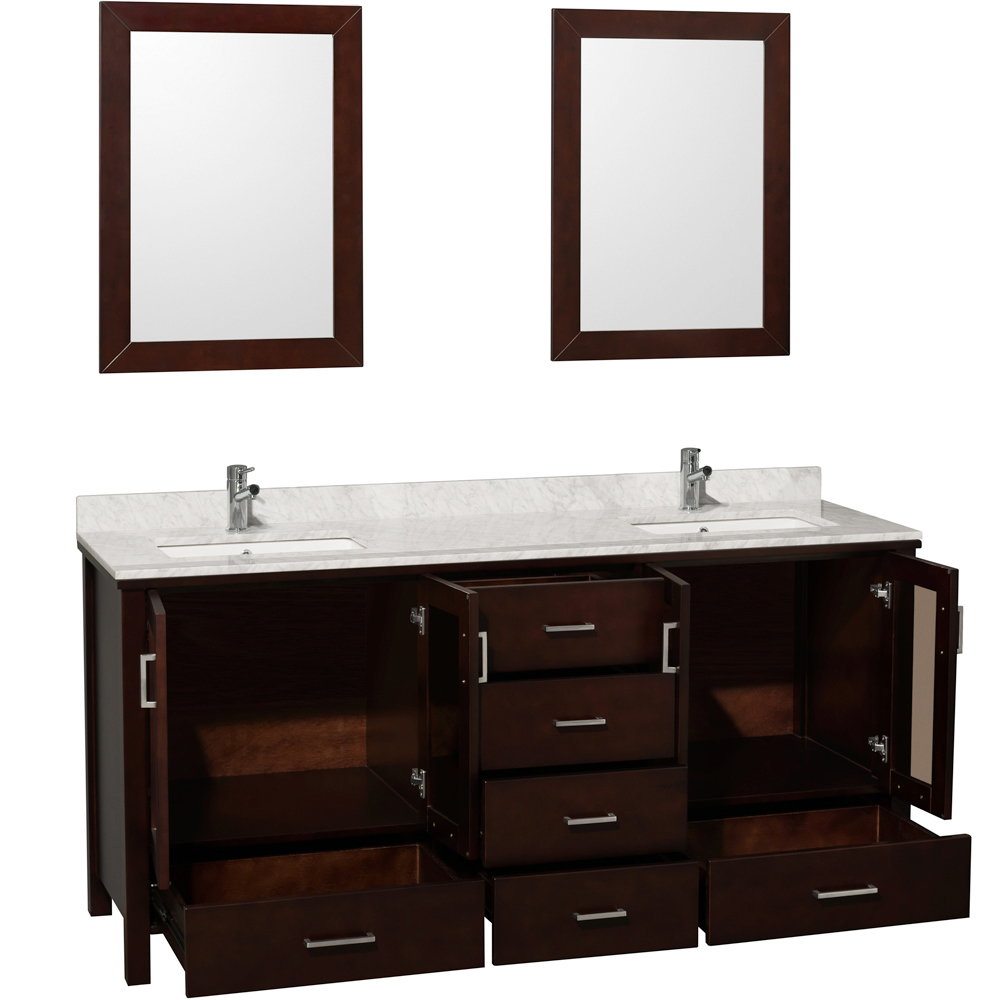 Shown with Large Mirror and Carrera White Marble Top