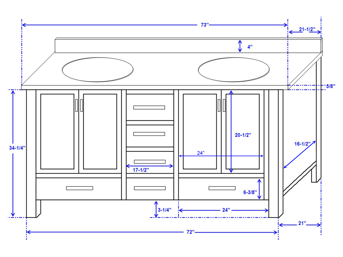 "73"" Sheffield Double Vanity - Dimensions"
