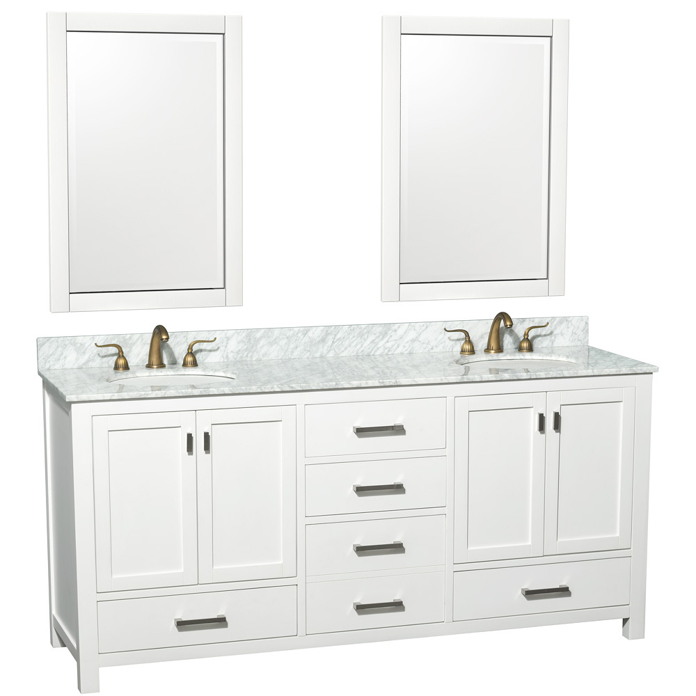Shown with Carrera White Marble Top and Two Mirrors