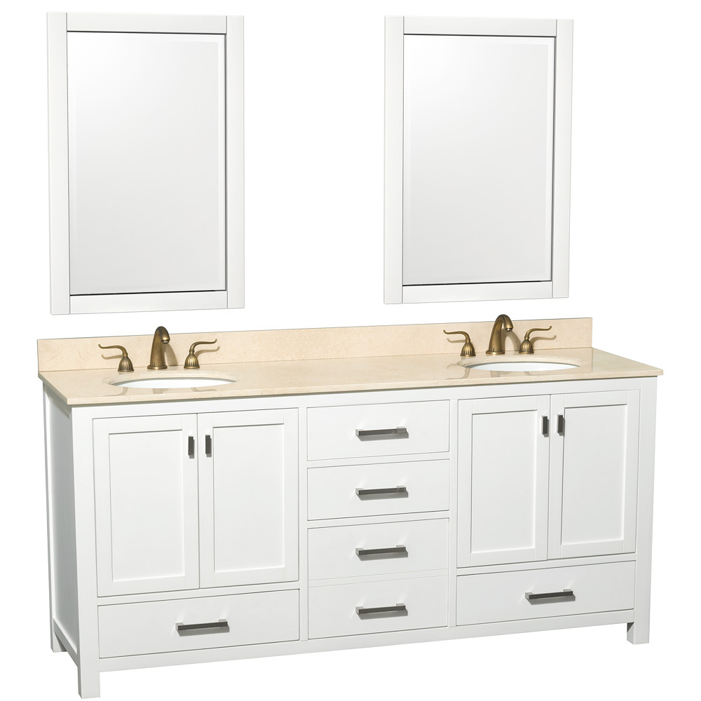 Shown with Ivory Marble Top and Two Mirrors