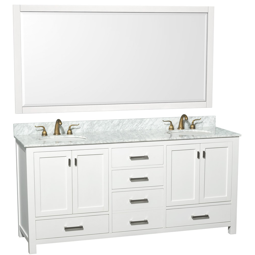 Shown with Carrera White Marble Top and Large Mirror