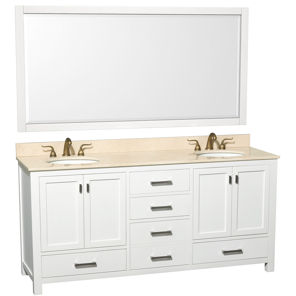 Shown with Ivory Marble Top and Large Mirror