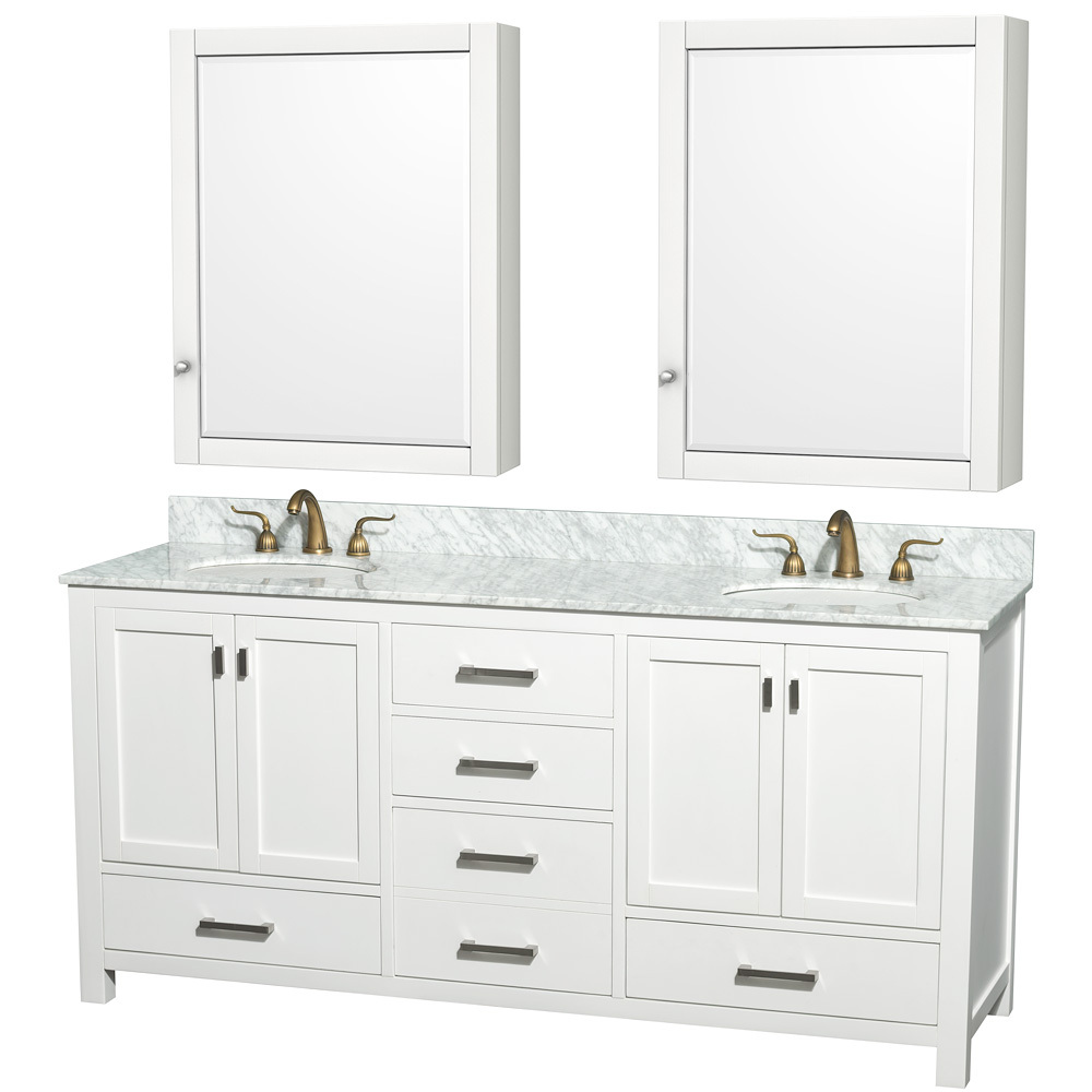 Shown with Carrera White Marble Top and Medicine Cabinets
