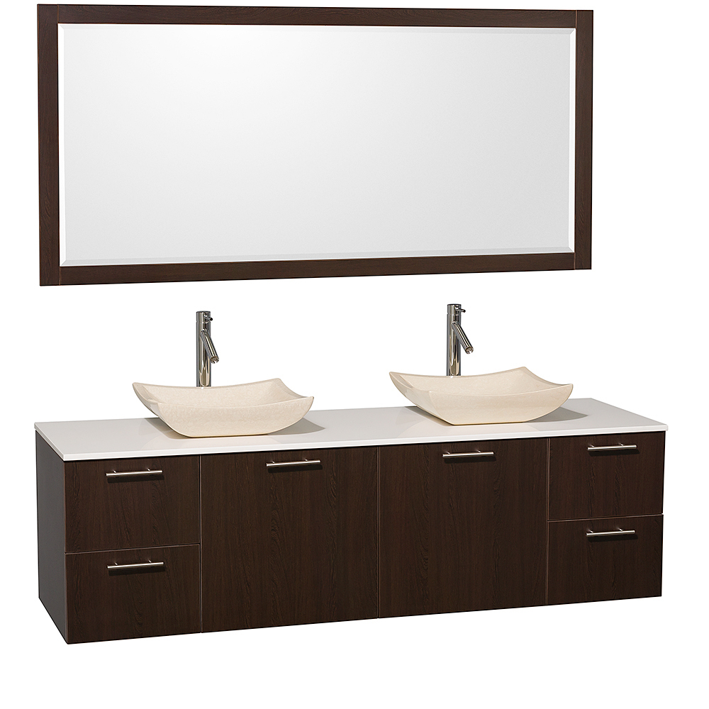 White Artificial Stone Top With Ivory Marble Sinks And Large Mirror