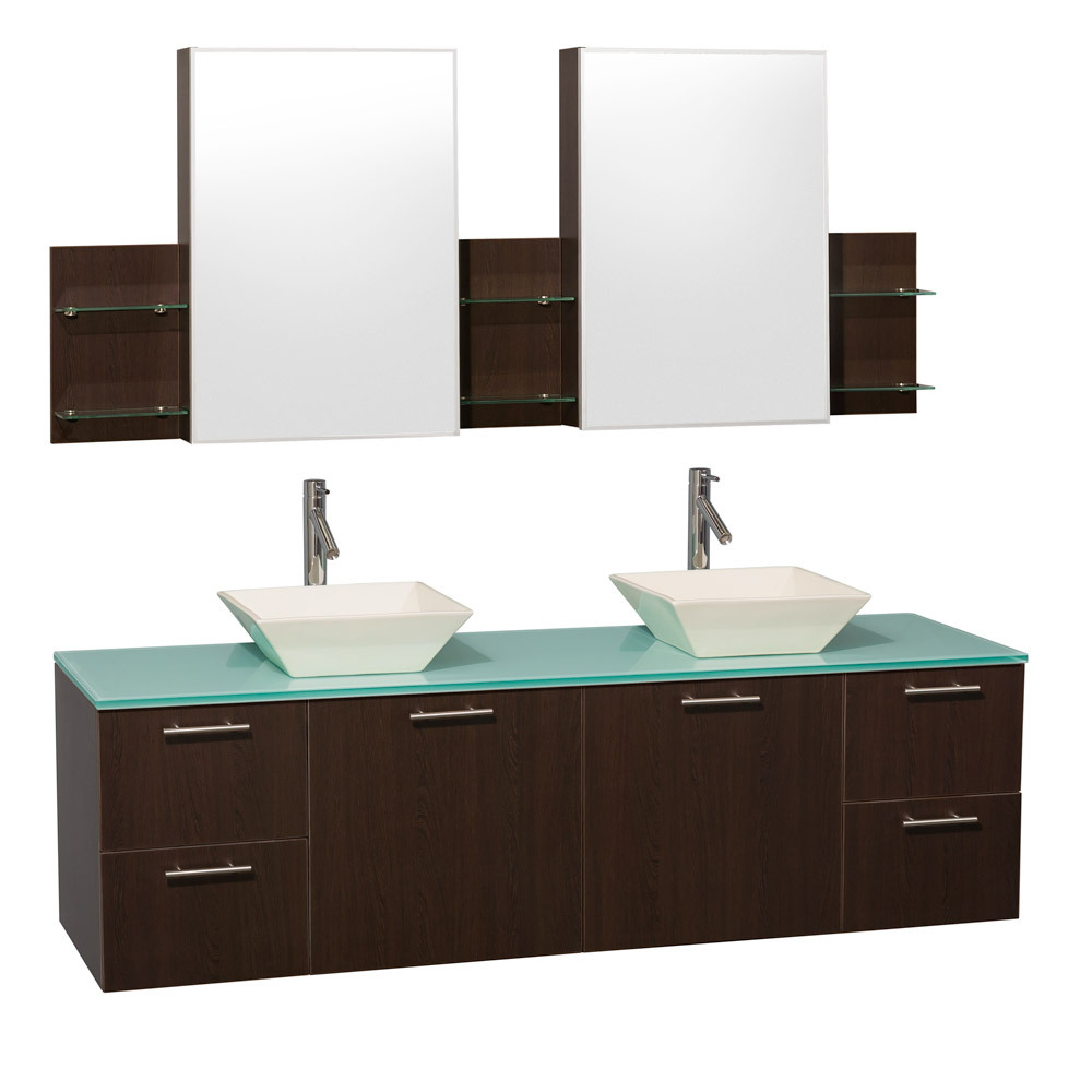 Green Glass Top with Bone Porcelain Sinks And Medicine Cabinets
