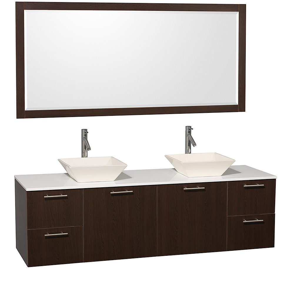 White Artificial Stone Top with Bone Porcelain Sinks And Large Mirror
