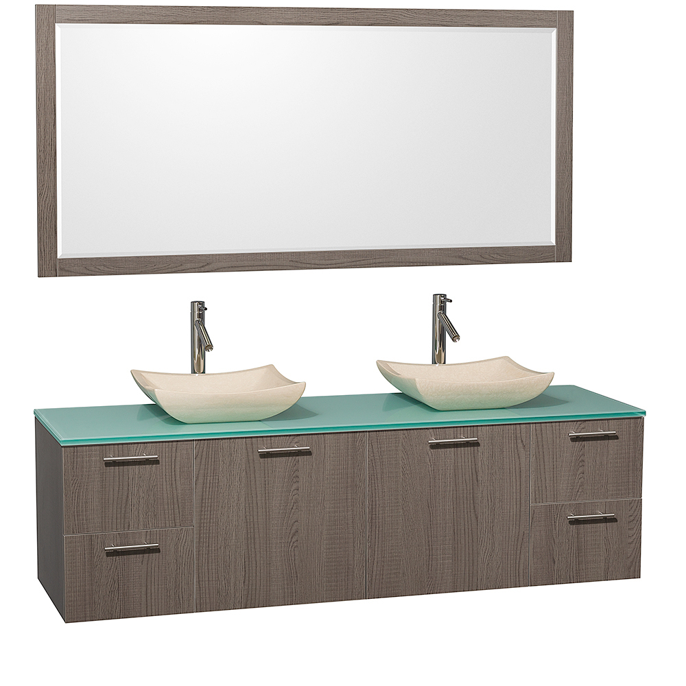 Green Glass Top With Ivory Marble Sinks And Large Mirror