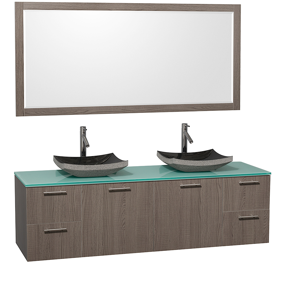 Green Glass Top With Black Granite Sinks And Large Mirror