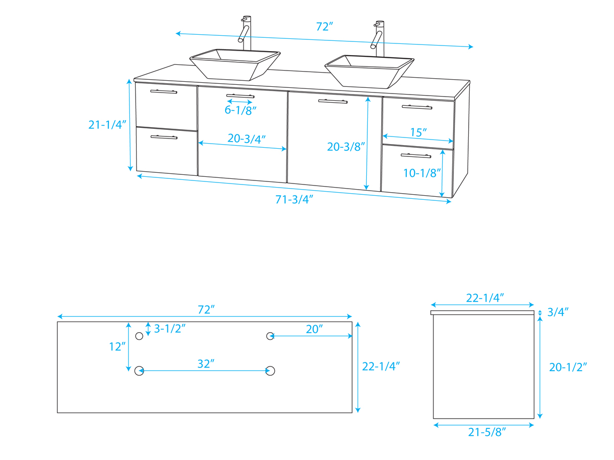 "72"" Amare Double Vessel Sink Vanity - Dimensions"