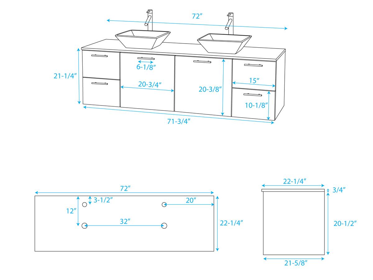 72 quot amare double vessel sink vanity grey oak bathgems com
