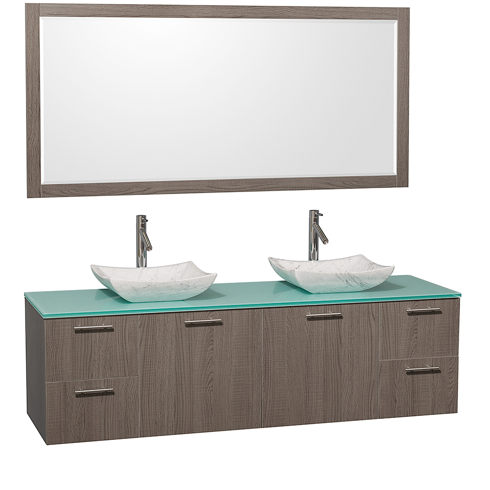 Green Glass Top With Carrera White Marble Sinks And Large Mirror
