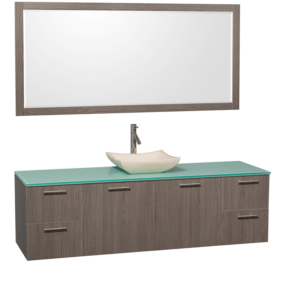 Green Glass Top - with Ivory Marble Sink
