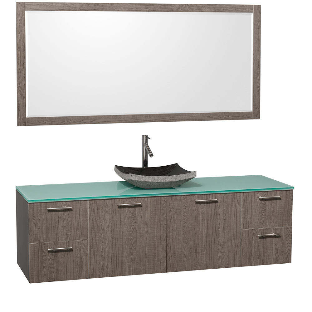Green Glass Top - with Black Granite Sink