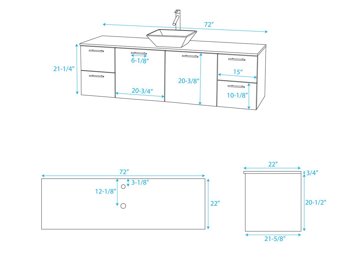 """72"""" Amare Vessel Sink Vanity - Dimensions"""