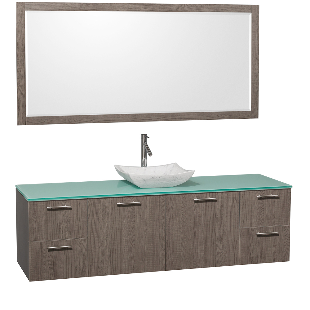 Green Glass Top - with Carrera White Marble Sink