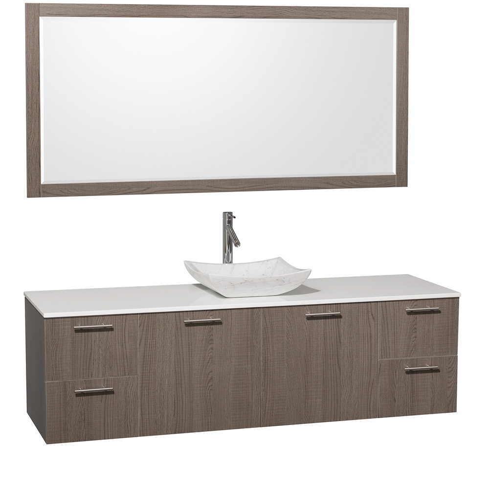 Artificial Stone Top - with Carrera White Marble Sink