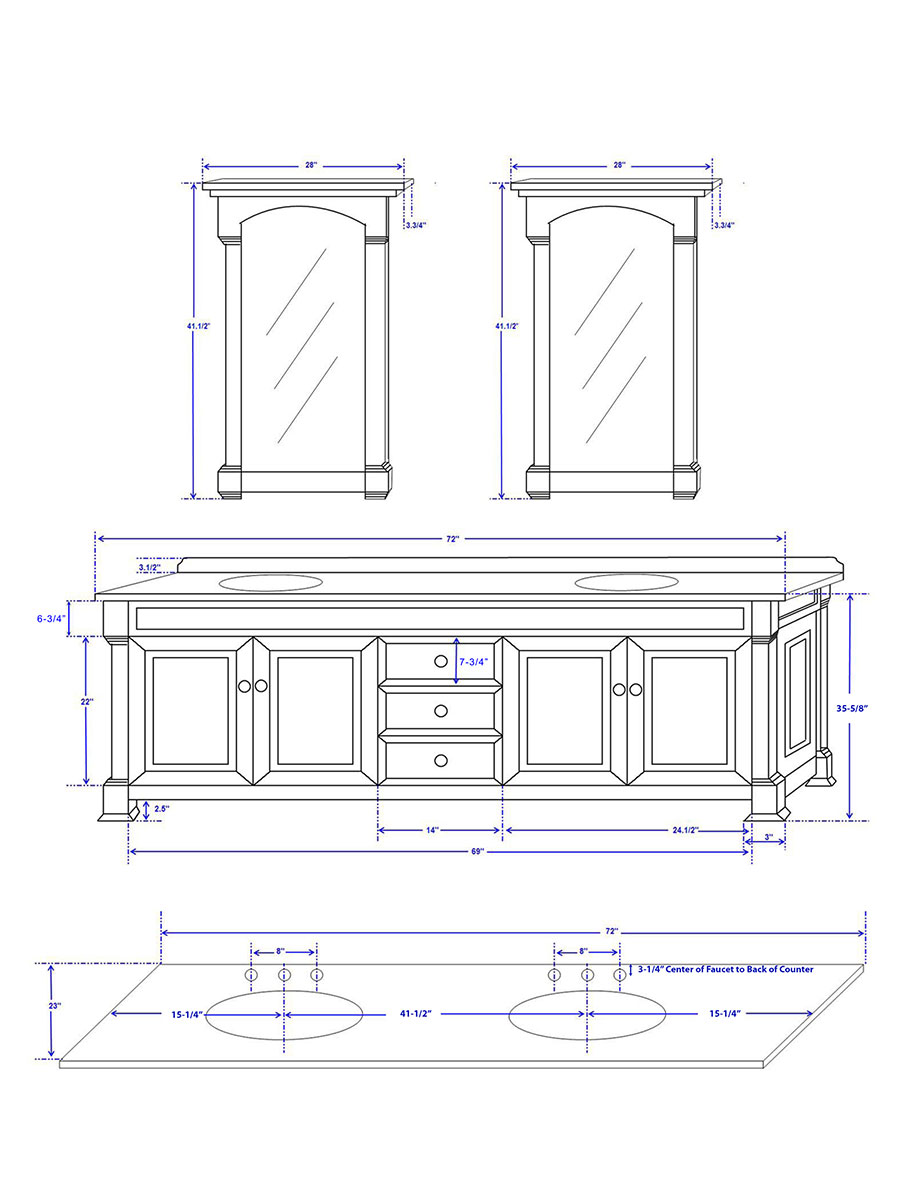 "72"" Andover Double Vanity - Dimensions"