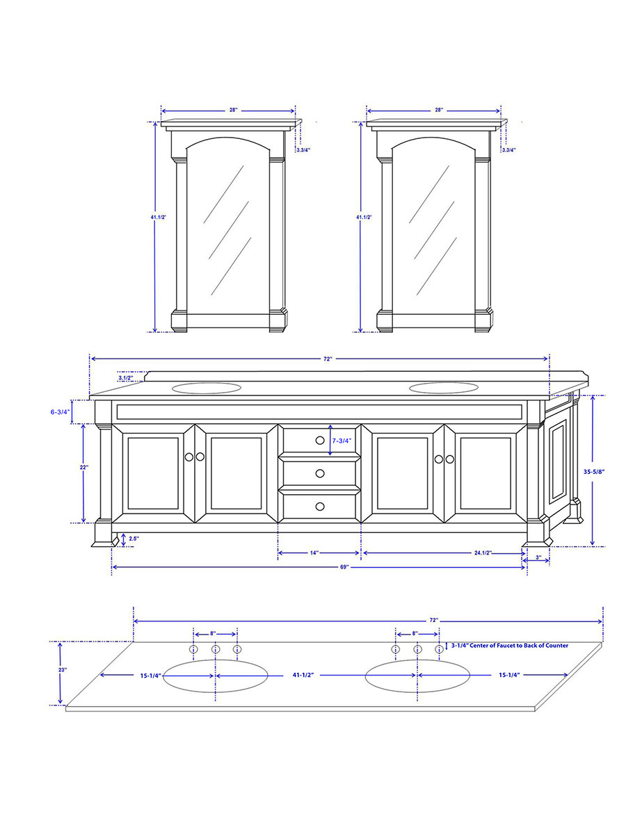 """72"""" Andover Double Vanity - Dimensions"""