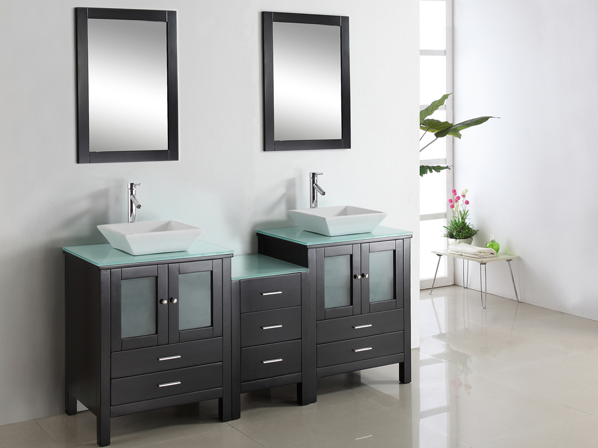 "72"" Brentford Double Vanity - with Tempered Glass top"