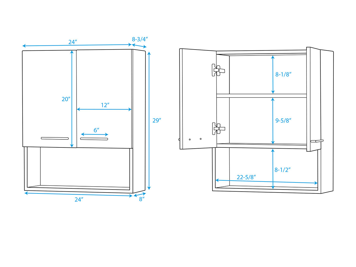 Zentra Wall Cabinet - Dimensions