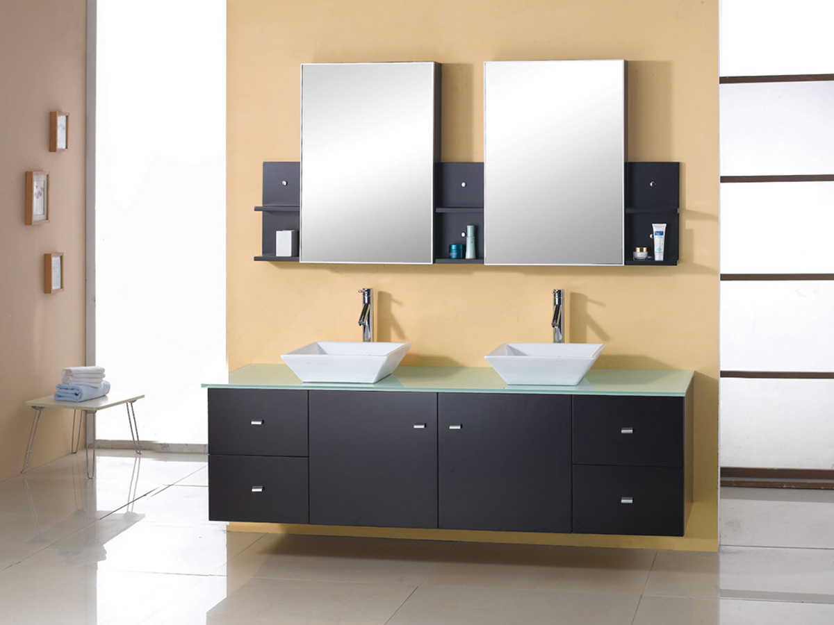 "72"" Clarissa Glass Double Vanity - with included mirror"