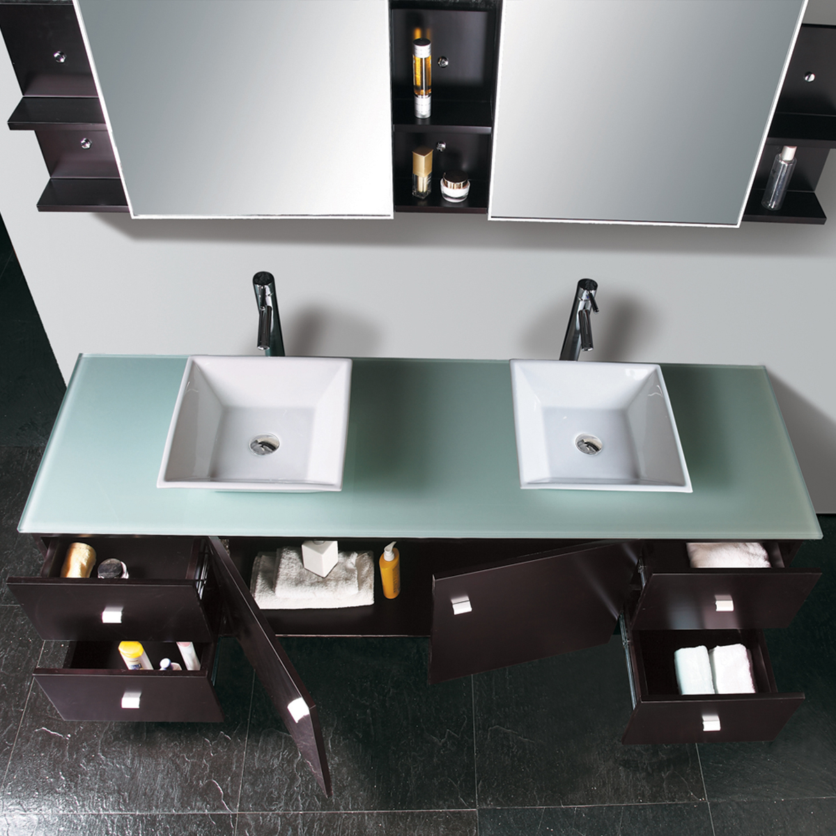 Includes 2 ceramic vessel sinks