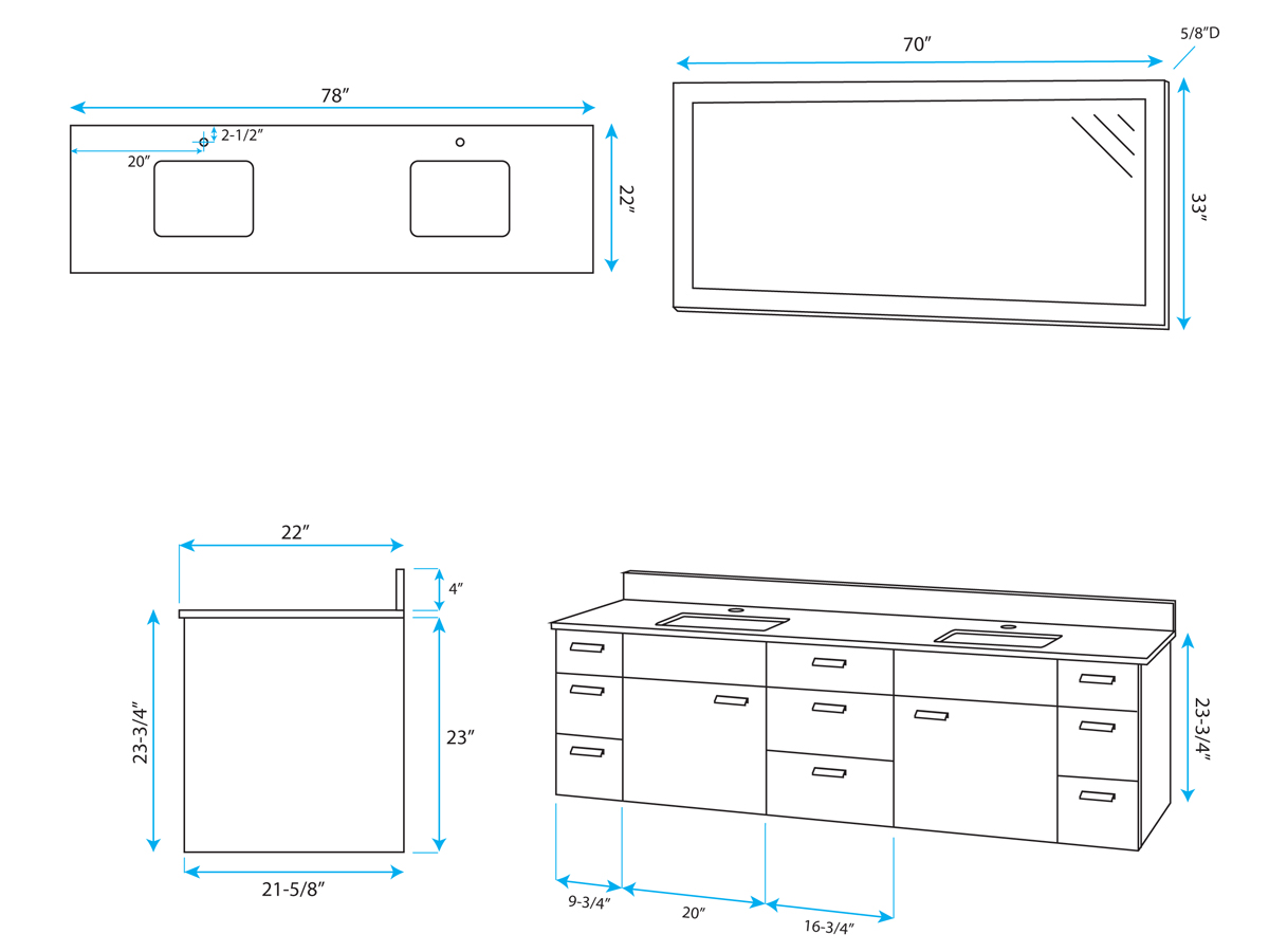 "78"" Encore Double Sink Vanity - Dimensions"
