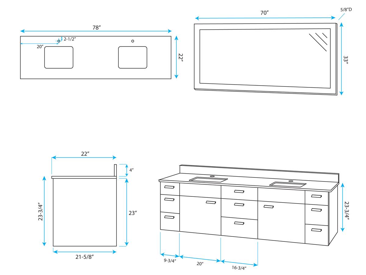 width of double vanity. 78 Encore Double Sink Vanity Dimensions Bathgems com  martinkeeis me 100 Measurements Images