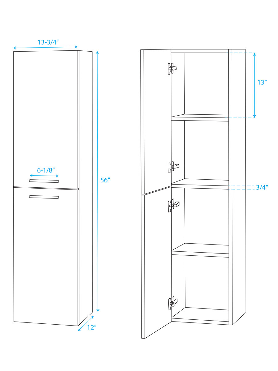 Amare Wall Cabinet - Dimensions