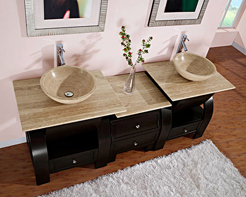 "77"" Cali Double Vessel Sink Vanity"