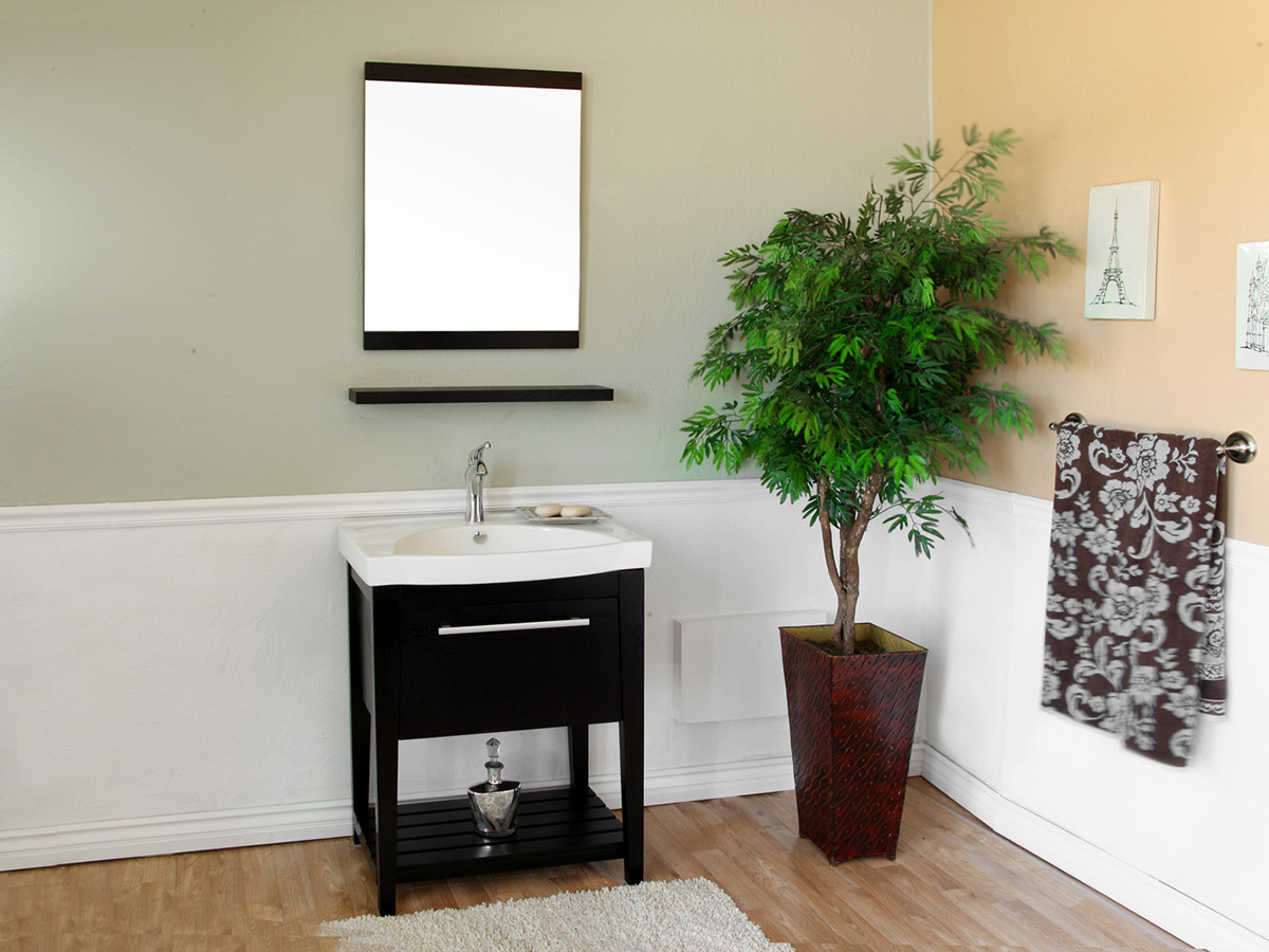 "27.5"" Thessaly Single Bath Vanity - Shown With Optional Mirror"