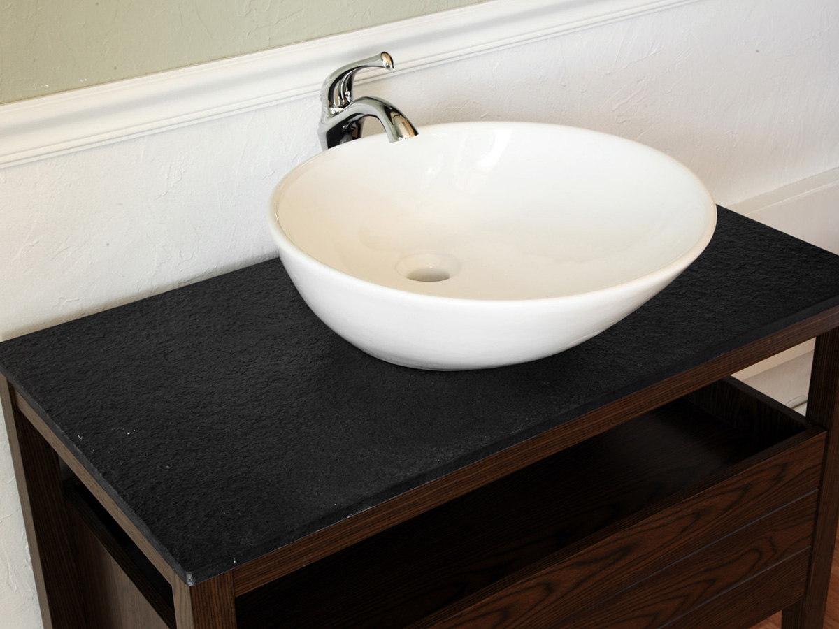 Burnt Stone Top And Vitreous China Vessel Sink