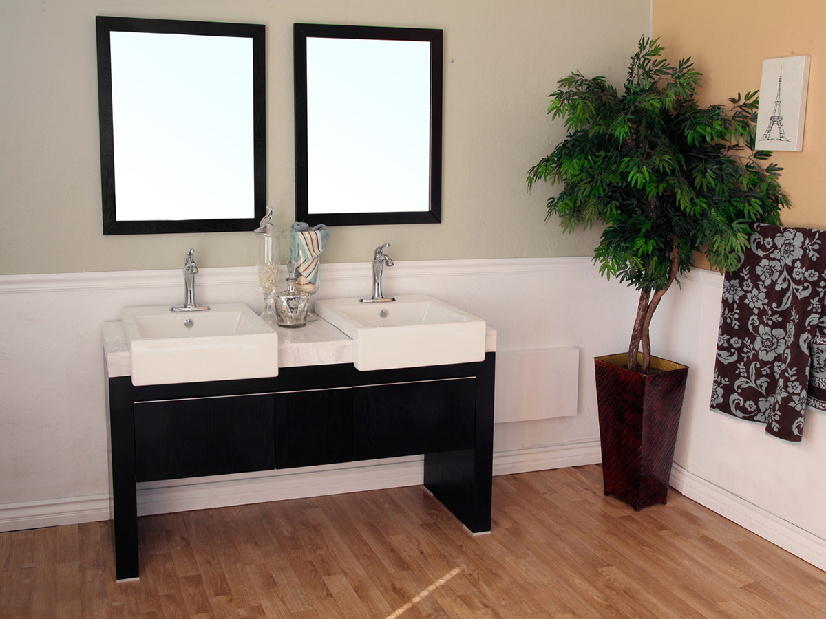 "57.75"" Serres Double Sink Vanity With Optional Mirrors"