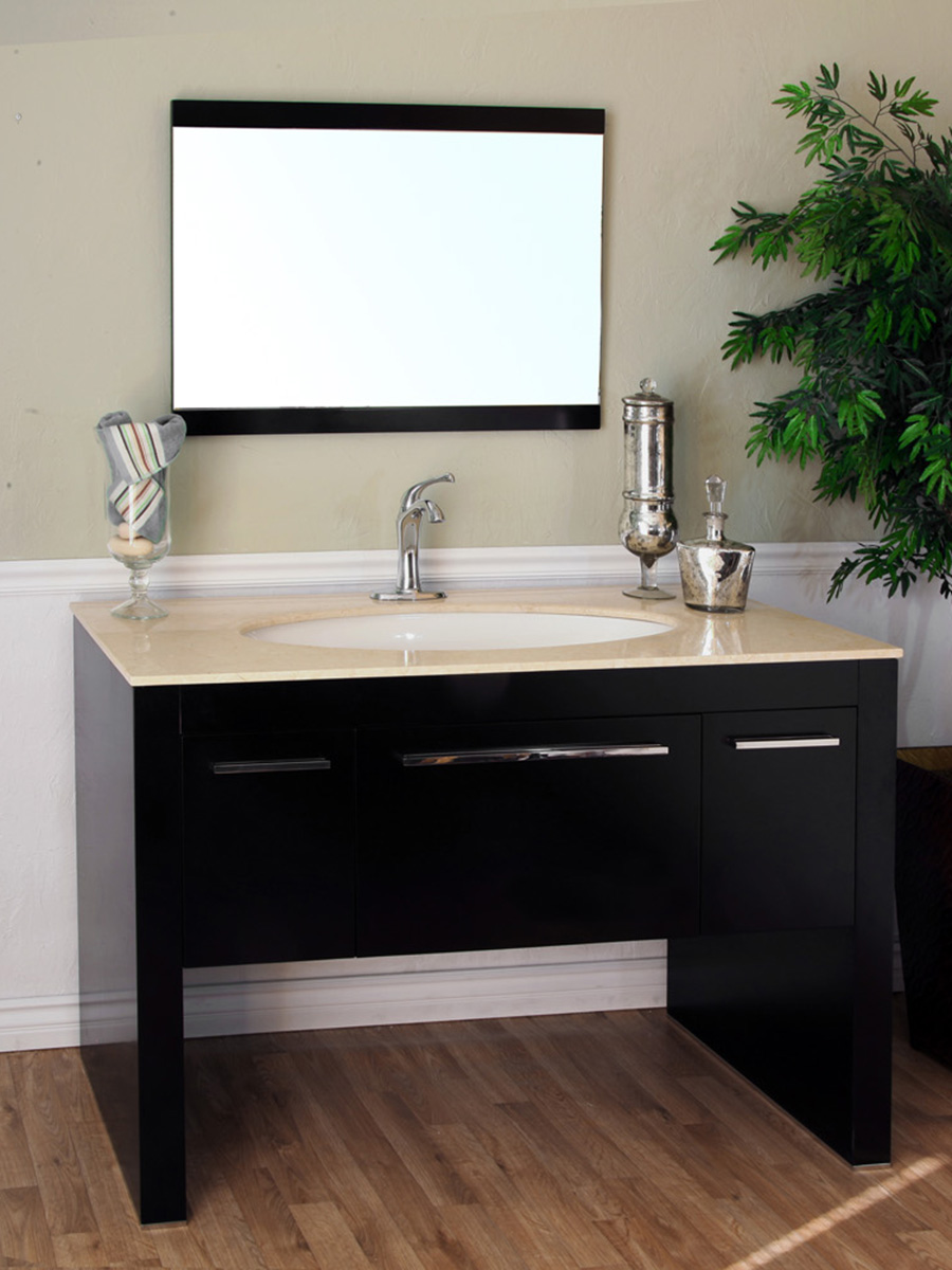 "55.3"" Corinth Single Bath Vanity - Shown With Cream Marfil Marble Top"