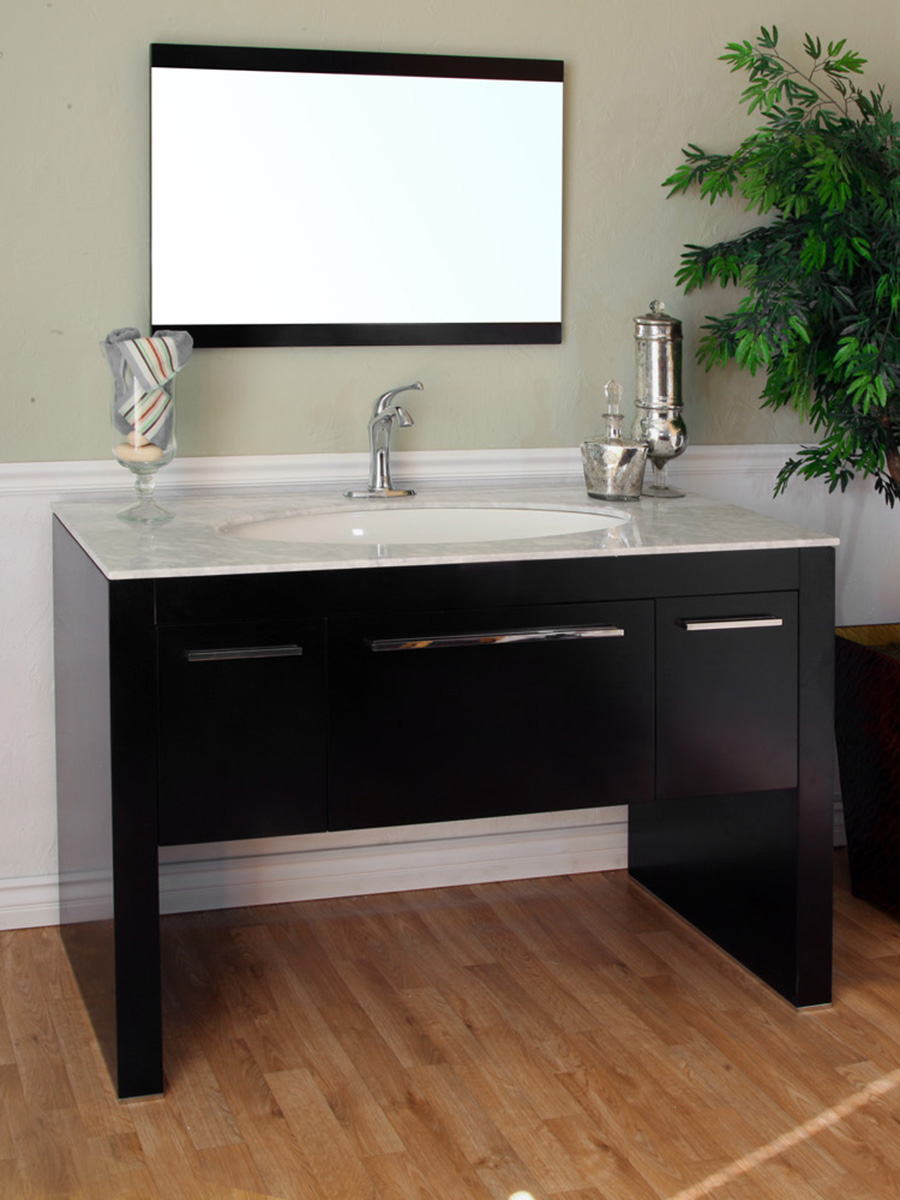 "55.3"" Corinth Single Bath Vanity - Shown With White Marble Top"