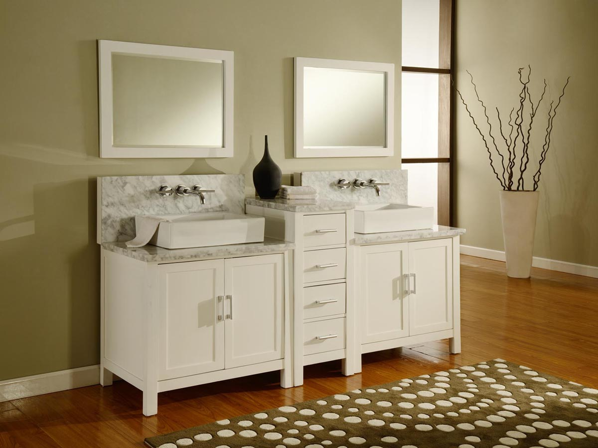 84 Quot Torrington Double Vessel Sink Vanity White