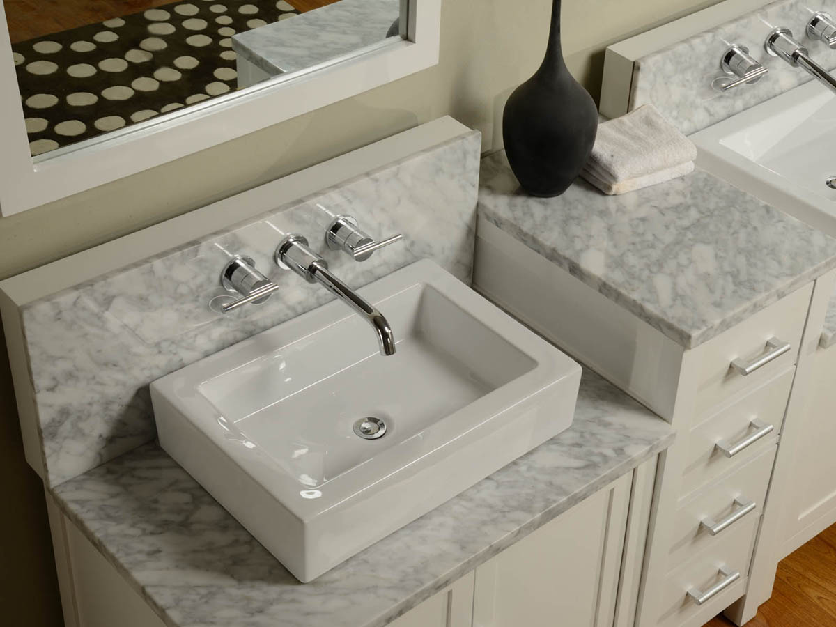 White Porcelain Vessel Sink With White Carrera Marble Top