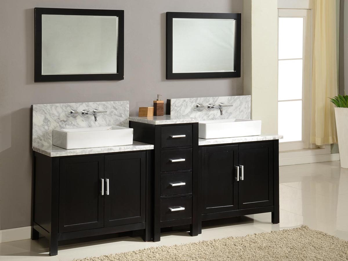 "Bathroom Vanity Vessel 84"" torrington double vessel sink vanity - espresso - bathgems"