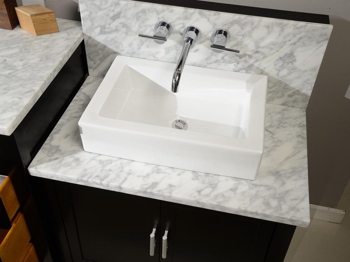 Carrera White Marble top with square porcelain vessel sink