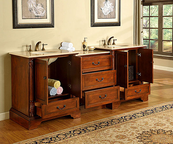 Two Double-Door Cabinets and Five Drawers