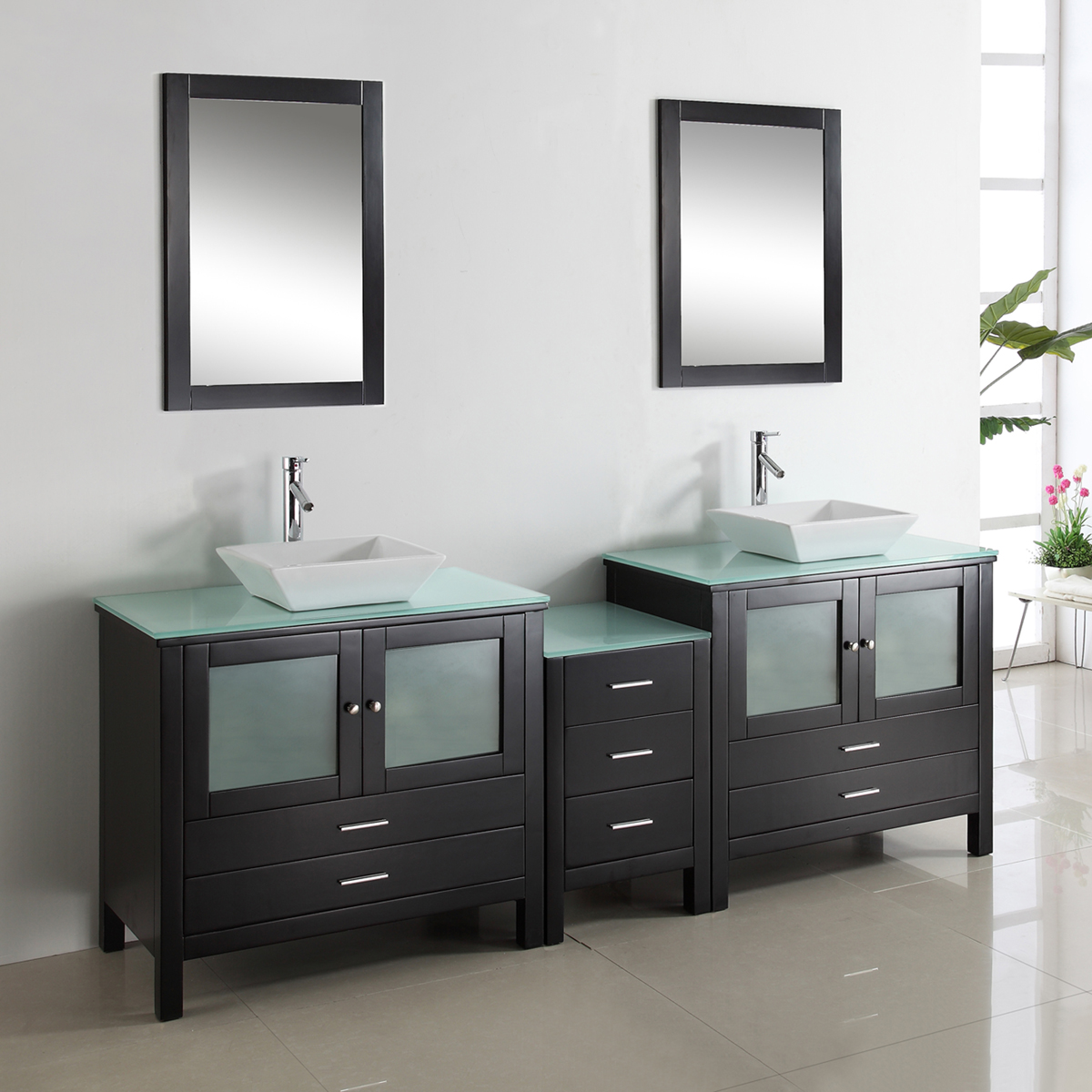 "89.25"" Brentford Double Vanity - with Tempered Glass Top"