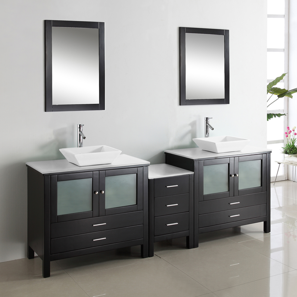 "89.25"" Brentford Double Vanity - with Artificial Stone Top"