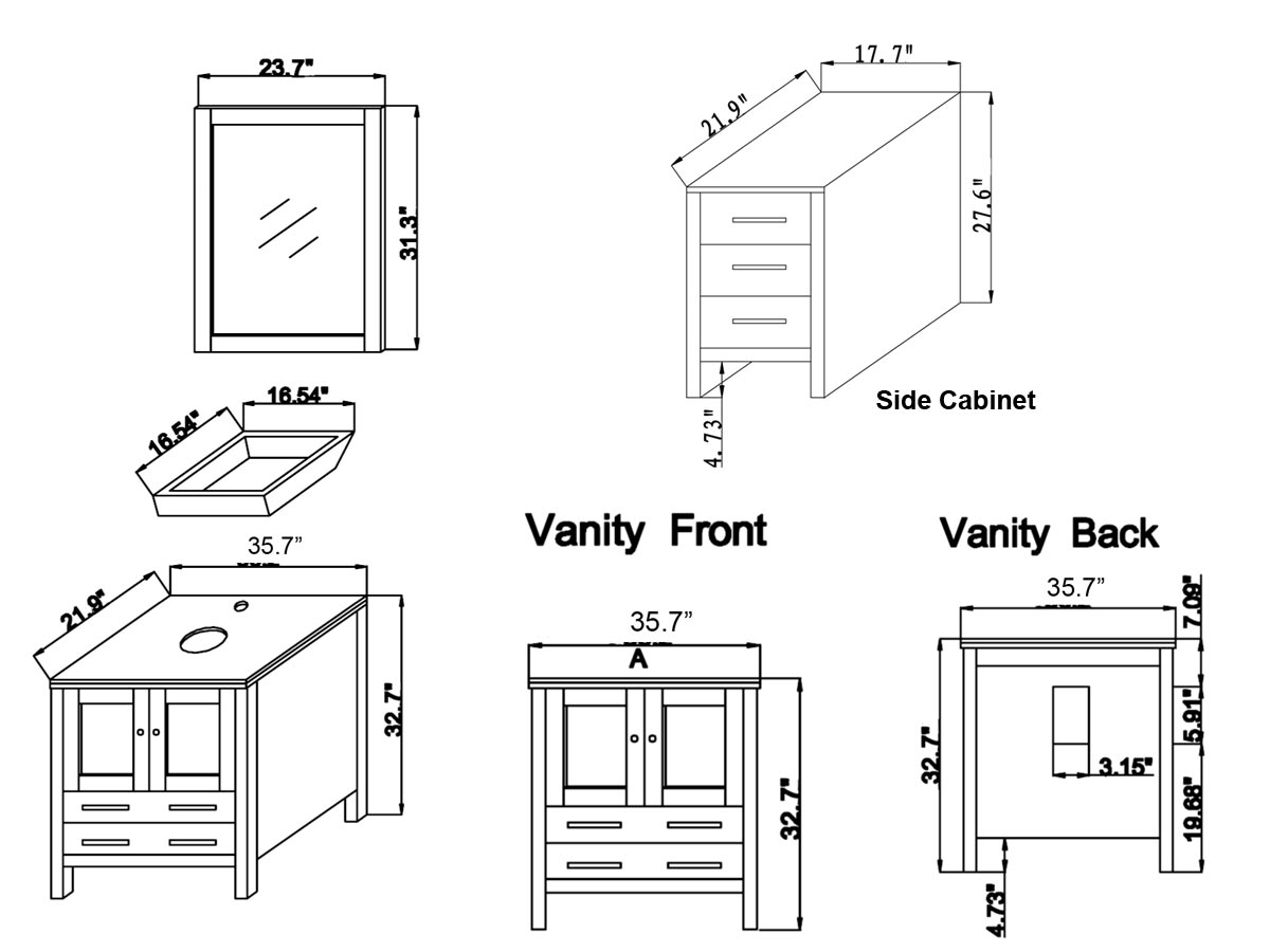 "89.25"" Brentford Double Vanity - Dimensions"
